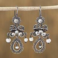 Cultured pearl filigree dangle earrings, 'Colonial Bows' - Bow-Shaped Cultured Pearl Filigree Dangle Earrings