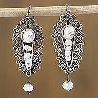 Cultured pearl filigree dangle earrings, 'Colonial Coat of Arms' - Swirl Motif Cultured Pearl Filigree Dangle Earrings