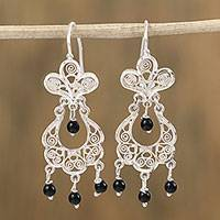 Sterling silver filigree chandelier earrings, 'Night Cascade' - High-Polish Sterling Silver Filigree Chandelier Earrings