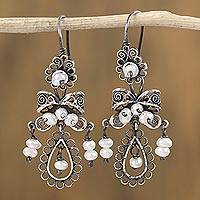 Cultured pearl filigree dangle earrings, 'Colonial Fashion' - Artisan Crafted Cultured Pearl Filigree Dangle Earrings