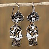 Cultured pearl filigree dangle earrings, 'Basket of Buds' - Floral Cultured Pearl Filigree Dangle Earrings from Mexico
