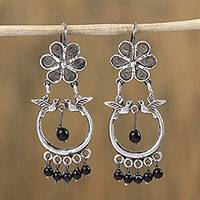Sterling silver filigree chandelier earrings, 'Loons in Paradise' - Floral and Bird-Themed Sterling Silver Filigree Earrings