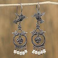 Cultured pearl dangle earrings, 'Eden Hummingbirds' - Hummingbird Motif Cultured Pearl Dangle Earrings from Mexico