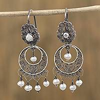 Cultured pearl filigree dangle earrings, 'Colonial Eclipse' - Crescent Cultured Pearl Filigree Dangle Earrings
