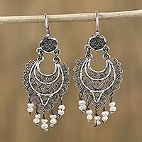 Cultured pearl filigree dangle earrings, 'Colonial Rain' - Cultured Pearl and Silver Filigree Dangle Earrings