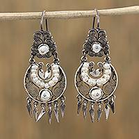 Cultured pearl filigree dangle earrings, 'Regal Tlatoani' - Oxidized Cultured Pearl Filigree Dangle Earrings from Mexico