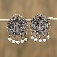Cultured pearl filigree dangle earrings, 'Protection of Saint Benedict' - Cultured Pearl Saint Benedict Dangle Earrings from Mexico