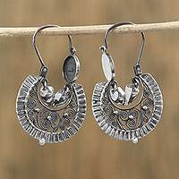 Sterling silver filigree hoop earrings,