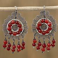 Sterling silver filigree chandelier earrings, 'Scarlet Rain' - Sterling Silver Filigree Chandelier Earrings with Red Beads