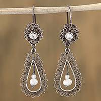 Cultured pearl filigree dangle earrings, 'Colonial Lamp' - Drop-Shaped Pearl Filigree Dangle Earrings from Mexico
