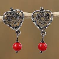 Sterling silver filigree dangle earrings, 'Antique Hearts' - Heart-Shaped Sterling Silver Filigree Earrings from Mexico