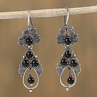 Sterling silver filigree dangle earrings, 'Antique Spirals in Black' - Silver Filigree Earrings with Black Glass Beads from Mexico