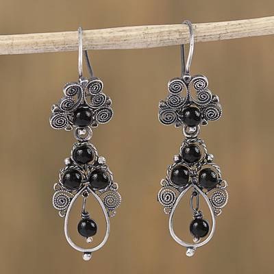 Sterling Silver Filigree Dangle Earrings Antique Spirals In Black