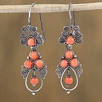 Sterling silver filigree dangle earrings, 'Antique Spirals in Peach' - Silver Filigree Earrings with Peach Glass Beads from Mexico