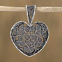 Sterling silver filigree pendant, 'My Deep Heart' - Heart-Shaped Sterling Silver Filigree Pendant from Mexico