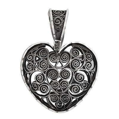 Heart-Shaped Sterling Silver Filigree Pendant from Mexico