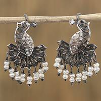 Cultured pearl filigree chandelier earrings, 'Colonial Peacock' - Peacoc-Inspired Cultured Pearl Filigree Earrings from Mexico