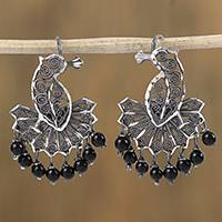 Sterling silver filigree chandelier earrings, 'Colonial Peacock' - Peacock Sterling Silver Glass Bead Filigree Earrings