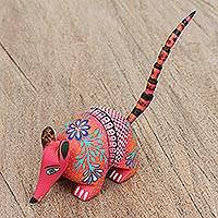 Wood alebrije figurine, 'Cheerful Armadillo' - Hand Painted Wood Alebrije Armadillo Figurine from Mexico