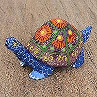 Wood alebrije figurine, 'Happy Turtle' - Hand Painted Copal Wood Alebrije Turtle Figurine
