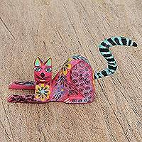 Wood alebrije figurine, 'Resting Cat' - Hand Painted Copal Wood Alebrije Cat Figurine