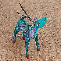 Wood alebrije statuette, 'Bright Deer' - Hand Painted Copal Wood Alebrije Deer Statuette
