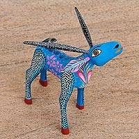 Wood alebrije figurine, 'Blue Deer' - Hand Painted Copal Wood Alebrije Deer figurine