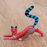 Wood alebrije sculpture, 'Stretching Cat in Red' - Wood Alebrije Cat Sculpture in Red from Mexico