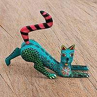 Wood alebrije figurine, 'Stretching Cat' - Hand Painted Copal Wood Alebrije Cat Figurine