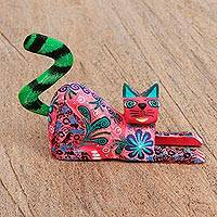 Wood alebrije figurine, 'Bright Cat' - Hand Painted Copal Wood Alebrije Cat Figurine