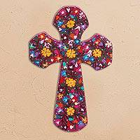Wood wall cross, 'Cross of Glory' - Hand Painted Floral Wood Wall Cross from Mexico