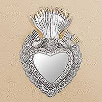 Steel wall mirror, 'Flaming Heart' - Heart-Shaped Steel Wall Mirror from Mexico