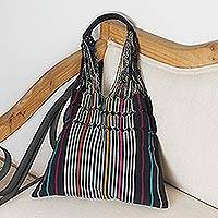 Cotton shoulder bag, 'Festive Array' - Hand Woven Striped Cotton Shoulder Bag from Mexico