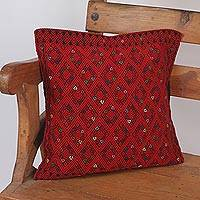 Cotton cushion covers, 'Red Maze' - Geometric Red Cotton Cushion Cover from Mexico