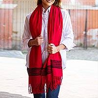 Cotton shawl, 'Field of Poppy' - Handwoven Embroidered Cotton Shawl in Poppy from Mexico