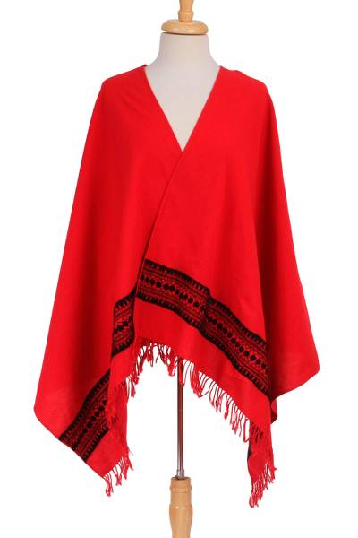 Cotton shawl, 'Field of Poppies' - Handwoven Embroidered Cotton Shawl in Poppy from Mexico