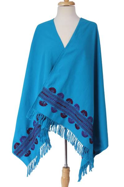 Cotton shawl, 'Above the Clouds' - Handwoven Embroidered Cotton Shawl in Turquoise from Mexico
