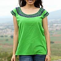 Cotton blouse, 'Spring Green Fields' - Handwoven Cotton Blouse in Spring Green from Mexico