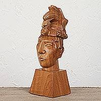 Wood sculpture, 'Bust of Pakal' - Wood Bust Sculpture Depicting Pakal II from Mexico
