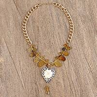 Amber and wood pendant necklace, 'Lovely Clover' - Blue White Flower Wood Heart Pendant Amber Bead Necklace