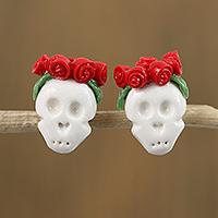 Cold porcelain button earrings, 'Sugar Skulls in Red' - White Skull Red Rose Crown Cold Porcelain Button Earrings