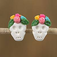 Cold porcelain button earrings, 'Sugar Skulls in Pink' - White Skull Pink Rose Crown Cold Porcelain Button Earrings