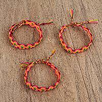 Cotton braided wristband bracelets, 'Colorful Plums' (set of 3) - Bright Braided Cotton Bracelets (3) from Mexico