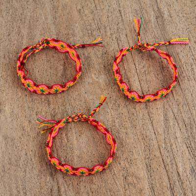 Cotton Braided Wristband Bracelets Colorful Plums Set Of 3 Bright