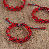 Cotton braided wristband bracelets, 'Cherry Braid' (set of 3) - Red and Black Braided Cotton Bracelets (3) from Mexico