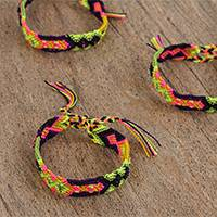 Cotton braided wristband bracelets, 'Sunset Colors' (set of 3) - Sunset-Colored Braided Cotton Bracelets (3) from Mexico