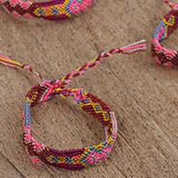 Cotton braided wristband bracelets, 'Fruits of the Forest' (set of 3) - Hand-Braided Cotton Wristband Bracelets (Set of 3)