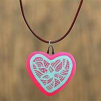 Ceramic pendant necklace, 'Passionate Heart' - Hand-Painted Ceramic Heart Necklace from Mexico