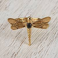 Featured review for Gold plated garnet cocktail ring, Gleaming Dragonfly
