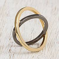 Black rhodium and gold plated band ring, 'Atomic Ring' - Black Rhodium and 14k Gold Plated Band Ring from Mexico